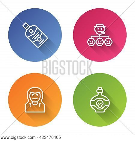 Set Line Whiskey Bottle, Mafia, Thief Mask And Poison In. Color Circle Button. Vector