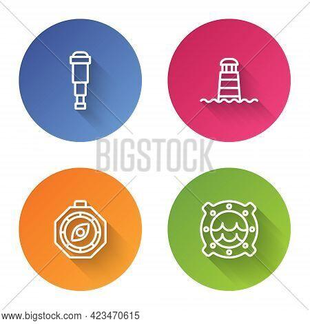 Set Line Spyglass Telescope Lens, Lighthouse, Compass And Ship Porthole With Seascape. Color Circle