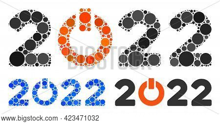 Collage Start 2022 Caption Icon Composed Of Round Items In Variable Sizes, Positions And Proportions