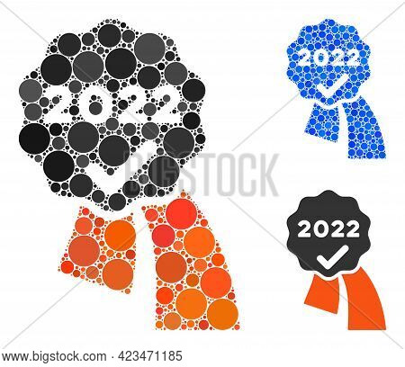 Collage 2022 Approve Award Icon Organized From Circle Items In Random Sizes, Positions And Proportio