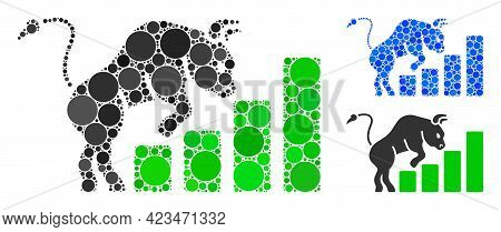 Collage Bullish Market Chart Icon United From Circle Elements In Variable Sizes, Positions And Propo
