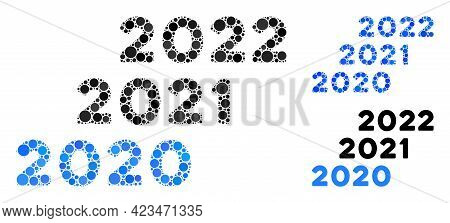 Collage 2020 - 2022 Years Icon Organized From Circle Elements In Random Sizes, Positions And Proport