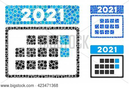 Collage 2021 Calendar Month Table Icon United From Spheric Items In Random Sizes, Positions And Prop