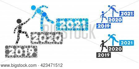 Mosaic 2021 Buisiness Training Stairs Icon Designed From Spheric Elements In Different Sizes, Positi