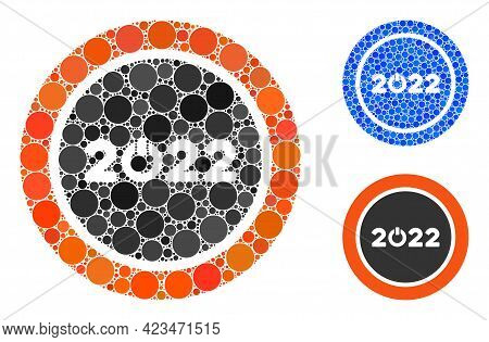 Mosaic Start 2022 Round Button Icon Constructed From Round Elements In Variable Sizes, Positions And