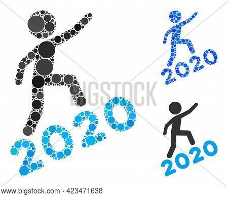 Collage Man Climbing 2020 Icon Organized From Round Items In Variable Sizes, Positions And Proportio