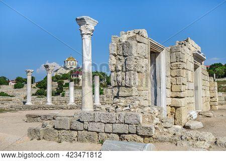 Ancient Church Of Vi Century In Antique City Chersonesus, Sevastopol, Crimea. Building Called 'basil