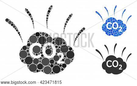 Collage Co2 Emission Cloud Icon Composed Of Round Elements In Various Sizes, Positions And Proportio