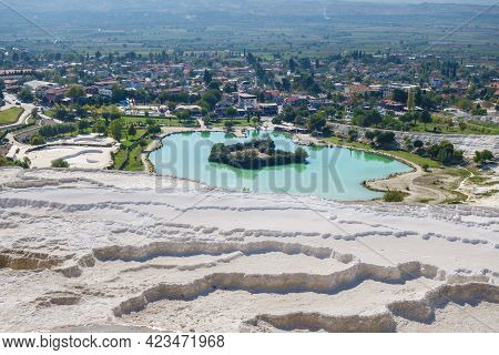 Panoramic View Onto Travertine Terraces, Artificial Lake & Town Pamukkale, Turkey. Terraces Included