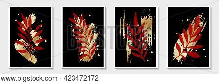 Botanical Wall Art Vector Set. Tropical Foliage Line Art Drawing With Brush Stroke. Abstract Plant A