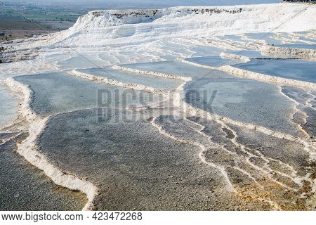 Travertine Terraces Of Pamukkale, Turkey. All Pools Filled With Mineral Water From Natural Spring. S