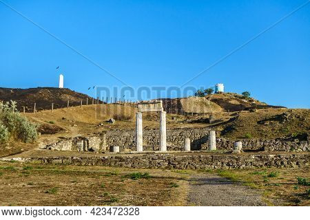 Panorama Of Antique City Panticapaeum, Kerch, Crimea. Colonnade On Front Is Most Recognizable Symbol