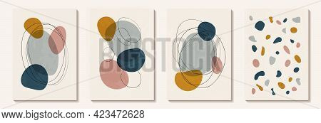 Creative Minimalist Hand Painted Abstract Art Background With Watercolor Stain And Geometric Shape.