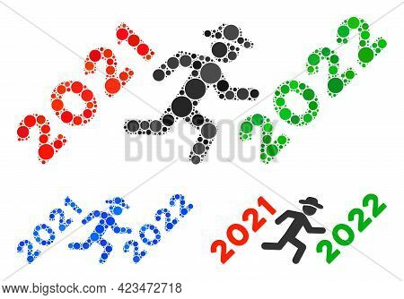 Collage Gentleman Run To 2022 Icon Composed Of Round Items In Different Sizes, Positions And Proport