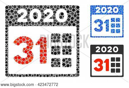 Mosaic 2020 Last Day Icon Organized From Round Items In Random Sizes, Positions And Proportions. Blu