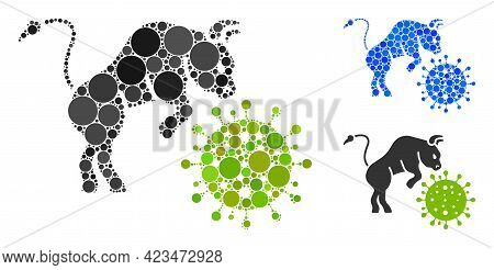 Collage Bull Attacks Coronavirus Icon Organized From Round Elements In Different Sizes, Positions An