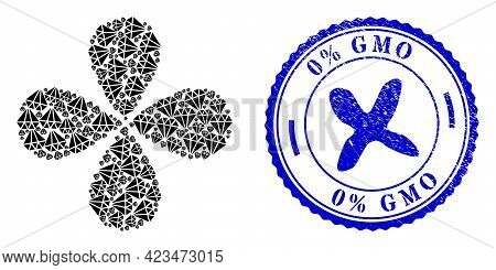 Adamant Crystal Explosion Burst, And Blue Round 0 Percents Gmo Rubber Stamp With Icon Inside. Object