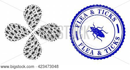 Bug Rotation Flower With Four Petals, And Blue Round Flea And Ticks Scratched Rubber Print With Icon