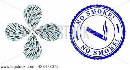 Cigarette Smoke Centrifugal Flower With Four Petals, And Blue Round No Smoke Exclamation Grunge Stam