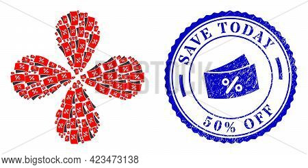 Discount Coupones Swirl Composition, And Blue Round Save Today 50 Percents Off Textured Stamp Imitat