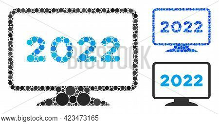 Mosaic 2022 Display Icon United From Circle Items In Different Sizes, Positions And Proportions. Blu