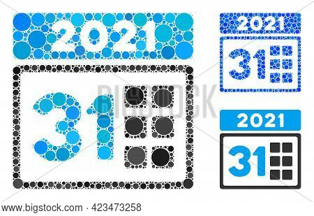 Collage 2021 Last Day Icon Composed Of Circle Items In Different Sizes, Positions And Proportions. B