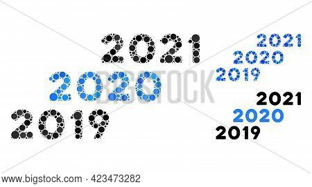 Collage 2019 - 2021 Years Icon Constructed From Spheric Elements In Variable Sizes, Positions And Pr