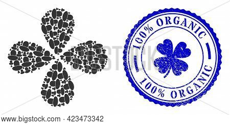 Mushroom Centrifugal Flower Cluster, And Blue Round 100 Percents Organic Rough Watermark With Icon I