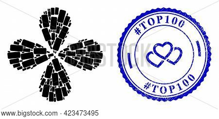 Rounded Rectangle Twirl Flower With Four Petals, And Blue Round Hashtag Top100 Dirty Rubber Print Wi