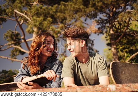 Caucasian Skateboarder Couple Standing Together Prepare Themselves To Surf Skate In The City Handsom