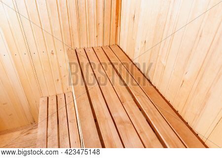 Interior Details Of Traditional Finnish Sauna Steam Room. Traditional Old Russian Bathhouse Spa Conc