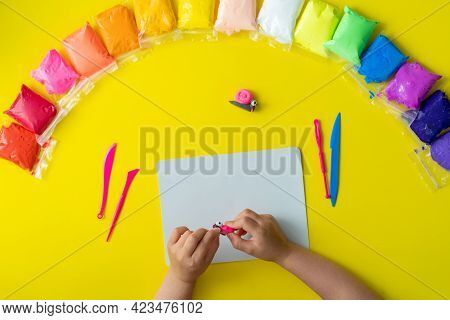 Air Plasticine Mass For Modeling Colored Ultralight Plasticine, All Colors Rainbow Spread Out On Yel