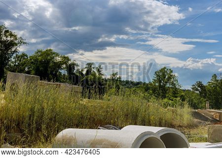 Construction Of Concrete Pipe Of Drainage System Work On The Road For Rectangular Drainage Pipes Wat