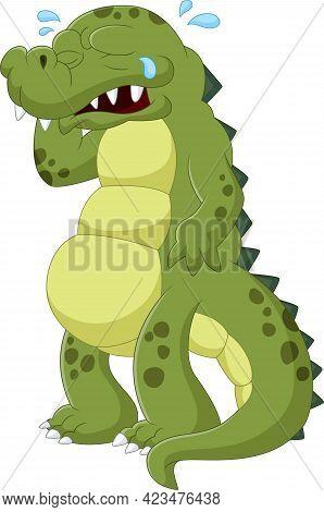 Cartoon Baby Crocodile Crying On White Background