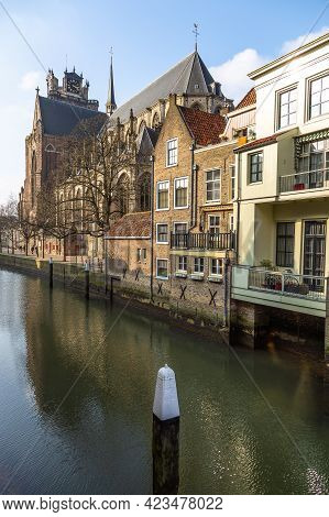 Dordrecht, Netherlands - 11 March 2016: View Of The Dordrecht Minster Or Church Of Our Lady, Grote K
