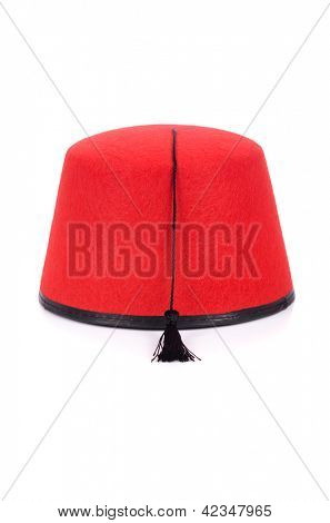 Red fez hat isolated on the white