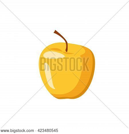One Ripe Yellow Apple Isolated On A White Background. Gifts Of Nature, Autumn Fruits