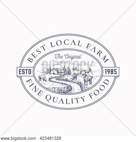Local Farm Products Retro Frame Badge Or Logo Template. Hand Drawn Rural Farm Landscape Sketch With