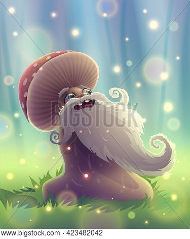 Funny Mushroom With Magic Smile In Summer Garden Or Fantasy Forest. Landscape With Season Park, Gree