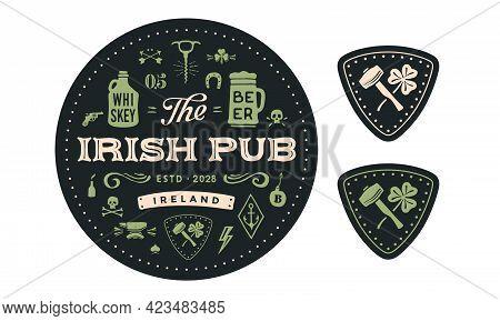 Coaster. Circle Coaster, Text Irish Pub, Beer, Whiskey. Vintage Drawing For Bar, Pub, Beer And Whisk