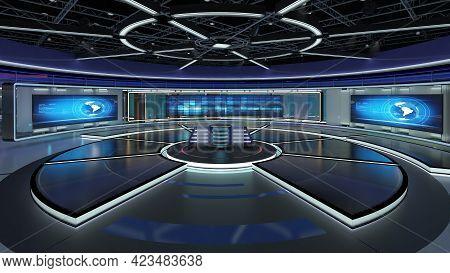 Virtual Tv Studio News Set. Green Screen Background. 3d Rendering.\n\nvirtual Set Studio For Chroma