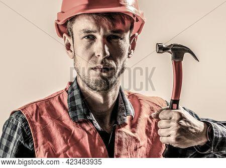 Hammer Hammering. Builder In Helmet, Hammer, Handyman, Builders In Hardhat. Man Worker With Beard, B