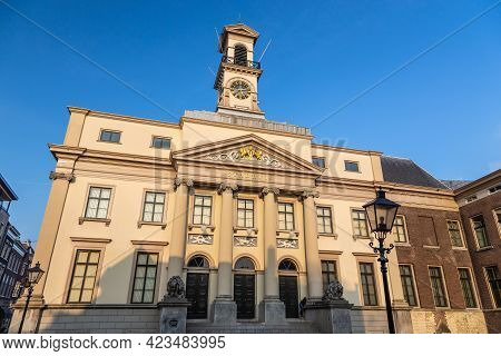 Dordrecht, Netherlands - 11 March 2016: View Of The City Hall Renaissance Building Decorated In Neoc