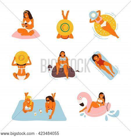 Summer Vacation On The Beach, Vector Illustration. Flat Sea Holiday Activities, Women, People Travel