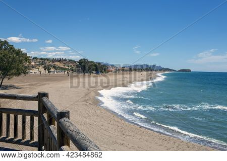 Privileged Place To See The Beach And The Sea, From A Viewpoint With Wooden Railing On A Sunny Day.