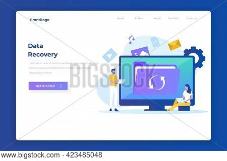 Data Recovery Illustration Design Concept Landing Page
