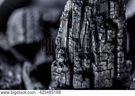 Piece Of Charcoal In Close Up, Charcoal Texture