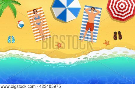 Beautiful Young Woman And Man Sunbathing On The Beach. Top View Of The Lying People. Banner, Summer