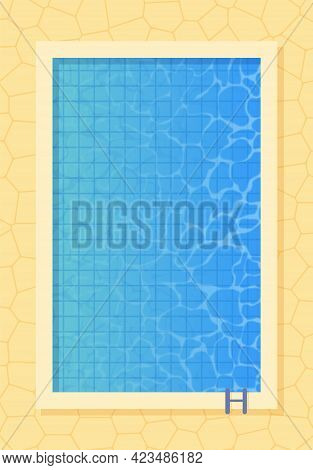 Swimming Pool Top View. Poster Template For Summer Holiday. Summer Pool Party Banner With Space For