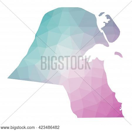 Polygonal Map Of Kuwait. Geometric Illustration Of The Country In Emerald Amethyst Colors. Kuwait Ma